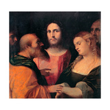 Christ And the Woman Taken in Adultery Giclee Print by Jacopo Palma Il Vecchio the Elder