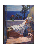 A Lady on the Balcony Giclee Print by Sergei Arsenyevich Vinogradov