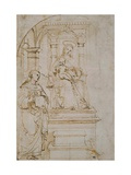 Sketch for An Enthroned Virgin And Child With Saint Nicholas of Tolentino Reproduction procédé giclée par  Raphael