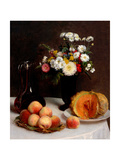 Still Life With Decanter, Flowers And Fruits Giclee Print by Henri Fantin-Latour