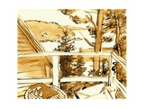 Maine Porch, 1975, ink drawing Giclee Print