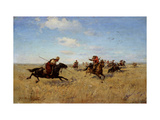 Fight Between Dnieper Cossacks And Tatars Giclee Print by Sergei Ivanovich Vasilkovsky