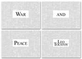 War and Peace By Leo Tolstoy (4 sheet set) Full Book Text Poster Prints