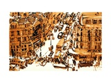 Oxford Circus, London, 1961, ink drawing Giclee Print