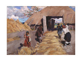 The Threshing Giclee Print by Sergei Arsenyevich Vinogradov