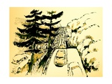 The Merritt Parkway, Connecticut, 2012, ink drawing Giclee Print