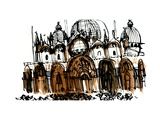 San Marco Cathedral, Venice, 1966, ink drawing Giclee Print
