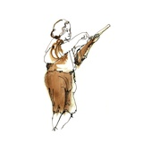 Loading a Brown Bess Musket, 1975, ink drawing Giclee Print