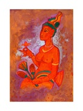 Buddhist Cave Painting, Courtesan, India, 2013, watercolour painting Giclee Print