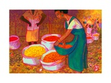 Flower Market, India, 2013, watercolour painting Giclee Print