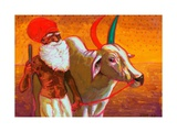 Farmer with Ox, India, 2013, watercolour painting Giclee Print