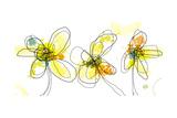 Three Yellow Flowers Art par Jan Weiss