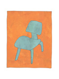 Single Blue Chair Looking for Long Term Photographic Print by Jan Weiss