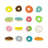 16 Donuts on White Prints by Jan Weiss