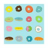 16 Donuts on Aqua Photographic Print by Jan Weiss