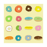 16 Donuts on Yellow Photographic Print by Jan Weiss