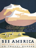 See America - Welcome to Montana I Prints by  Vintage Reproduction