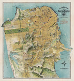 Map of San Francisco, California, 1912 Prints by August Chevalier