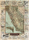 Map of California Roads for Cyclers, 1896 Posters af George W. Blum