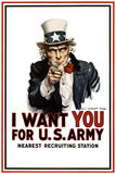 Uncle Sam I Want You for U.S. Army James Montgomery Flag Plastic Sign - Plastik Tabelalar