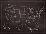 USA Map (chalk) Posters af Sparx Studio