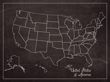 USA Map (chalk) Plakaty autor Sparx Studio