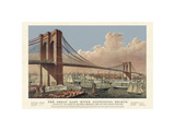 The Great East River Suspension Bridge, 1877 Giclee Print by  Vintage Reproduction