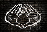 Illuminati Hand Sign Graffiti Plastic Sign Wall Sign