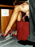 Red Handbag and Sexy Legs Photographic Print by Arthur Belebeau