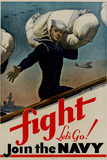 Fight Let's Go Join the Navy WWII War Propaganda Print Plastic Sign Wall Sign