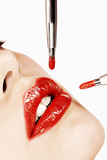 Glossy Red Lips Photographic Print by Arthur Belebeau