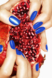 Pomegranate and Blue Nails Photographic Print by Arthur Belebeau