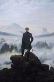 Caspar Friedrich Wanderer Above the Sea of Fog Print Plastic Sign Kunststof borden van Caspar David Friedrich