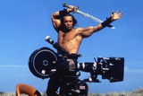Conan the Barbarian 1982 Directed by John Milius on the Set, Arnold Schwarzenegger. Fotografisk tryk