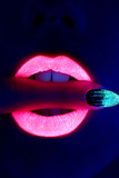 Blacklight Lips Photographic Print by Arthur Belebeau