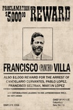Pancho Villa Wanted Sign Plastic Sign Plastic Sign
