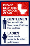 Clean Bathrooms Ladies Gentlemen Sign Print Plastic Sign Plastskilt