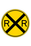 Railroad Crossing Indoor/Outdoor Rigid Resin Sign Wall Sign