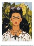 Zelfportret met doornen halsketting en kolibrie, 1940 Schilderij van Frida Kahlo