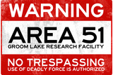Area 51 Warning No Trespassing Sign Plastic Sign Wall Sign
