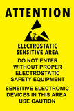 Electrostatic Sensitive Area ESD Warning Sign Plastic Sign Plastic Sign