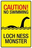Caution Loch Ness Monster Sign Plastic Sign Wall Sign