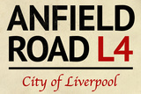 Anfield Road L4 Liverpool Street Sign Plastic Sign Wall Sign