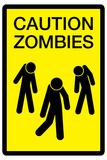 Caution Zombies Sign Plastic Sign Plastikskilt