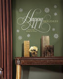 Happy Holidays Quote Peel and Stick Giant Wall Decals w/Glitter Wall Decal