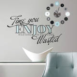 Time You Enjoy Peel and Stick Quote Clock Wall Decal
