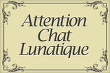 Attention Chat Lunatique French Crazy Cat Plastic Sign Wandbord