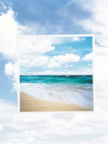 Frame with Seashore Scene Floating in Cloudy Sky Photographic Print by Green Light Collection