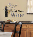 Keep Calm & Drink Wine Quote Peel and Stick Wall Decals Wall Decal