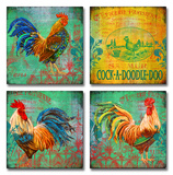 Parisian Rooster Set of Four Wood Sign
